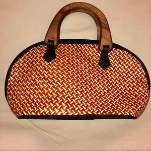 Handbags - Handmade Filipino Pandan Leaf Handbag RED & CREAM